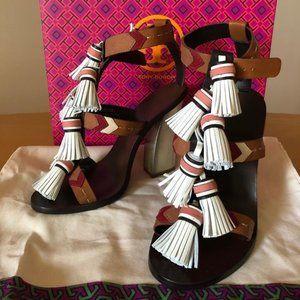 Tory Burch Tan/Light Almond Weaver Tassel Sandals